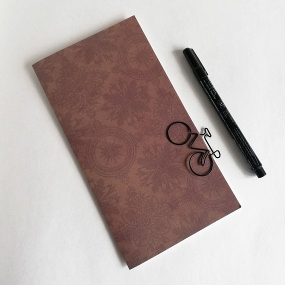 Travelers Notebook Insert, Brown Damask, sizes include Standard, A5, Cahier, B6, B6 Slim, Personal, A6, Field Notes and more - N623