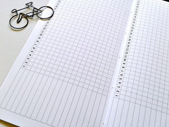HABIT TRACKER Traveler's Notebook Insert - Midori Insert - Fitness Tracker - Productivity Planner - Goal Planning Insert - C009