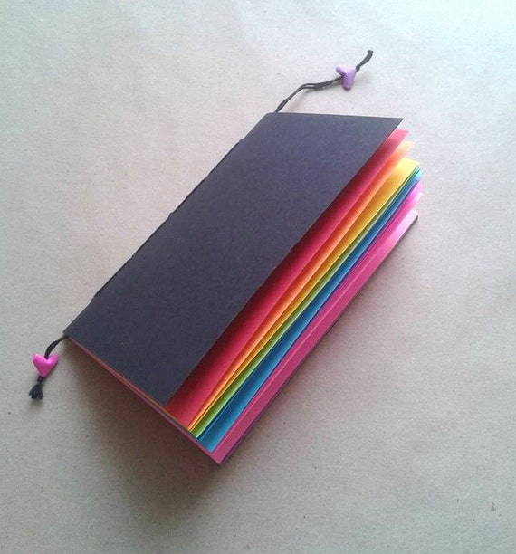 RAINBOW Traveler's Notebook Insert - Black Cover - Coloured Paper Insert - Personal Log - Midori Refill - TN Insert - Midori Insert - N024A