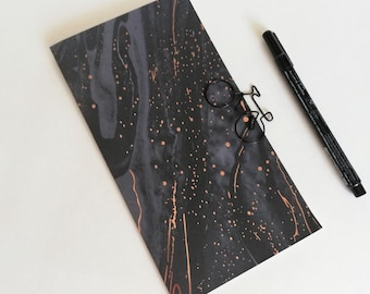 BLACK with Gold Foil Travelers Notebook Insert - Midori Refill - TN Accessory - Sizes Standard A5 B6 Personal A6 Pocket Passport Nano - N657