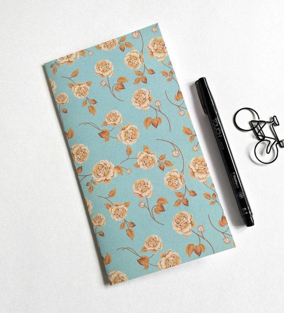 FLOWERS Travelers Notebook Insert - Fauxdori Midori Insert - TN Refill Accessory - Floral Blue Green Kraft - 10 Sizes - N566