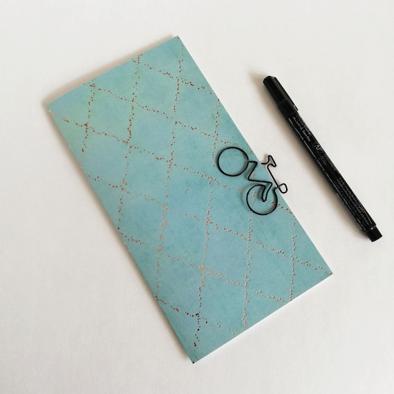 BLUE GREEN Travelers Notebook Insert with foil- Fauxdori Midori Insert TN Refill Accessory - Turquoise Bluish - 10 Sizes including B6 - N615