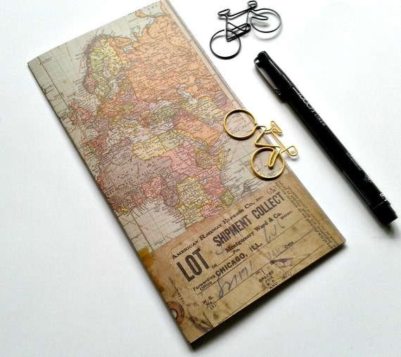MAP of the WORLD - Traveler's Notebook Insert, Field Notes Insert, Fauxdori Insert, Midori Insert, Personal Log, A6, B6 Slim, Notes - N401