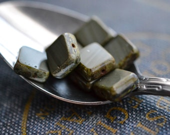 Olive Green Czech Glass Beads / Rustic 12mm Picasso Square Bead / Jewelry Findings
