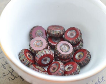 Red Gray Czech Glass Beads / Rustic 12mm Coin Bead / Artisan Jewelry Findings
