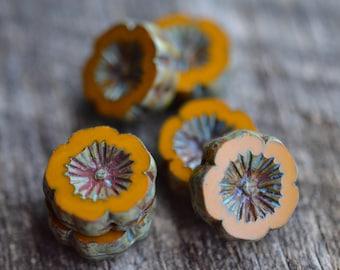 Pumpkin Orange Flower 14 MM Czech Glass Picasso Beads | Floral Glass Beads | Glass Beads | Flower Beads | Cute Glass Beads
