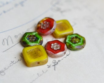Coral Yellow Green Czech Glass Bead Mix / Rustic 14mm Picasso Bead Mix / Jewelry Findings