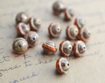Amber Brown Czech Glass Beads / Rustic 10mm Bicone Bead / Artisan Jewelry Findings