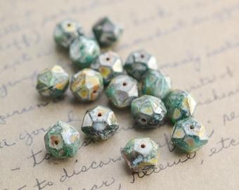 Evergreen Brown Czech Glass Beads / Rustic 10mm Bead / Artisan Jewelry Findings