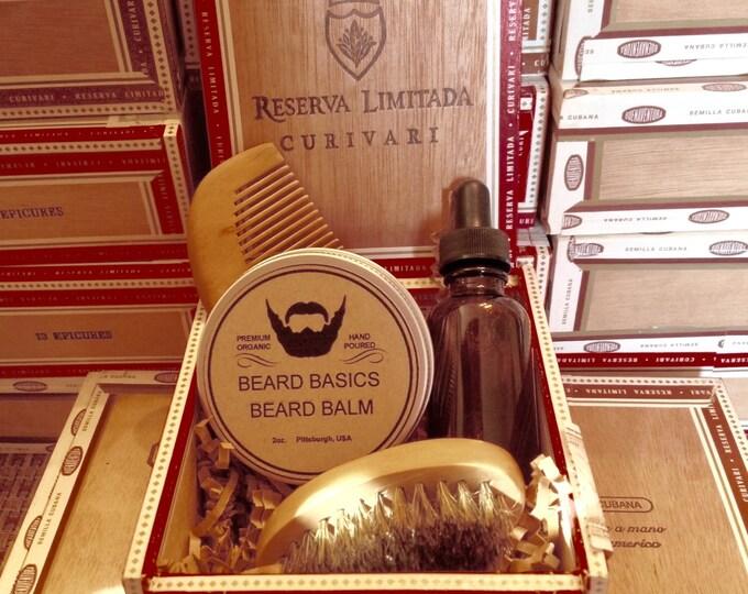Featured listing image: Beard Care Gift Set Beard Oil Beard Balm Wood Comb and Boar Bristle Beard Brush in Cigar Box Beard Basics Pimp My Beard