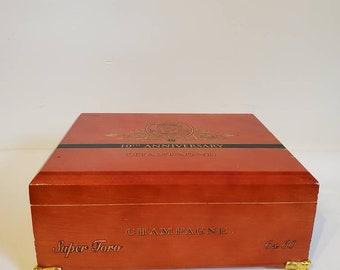 Men's Cigar Box Jewelry Box/ Wooden Humidor/ Wood Cigar Box Trinket Box/ Perdido Reserve 10th Anniversary Champagne