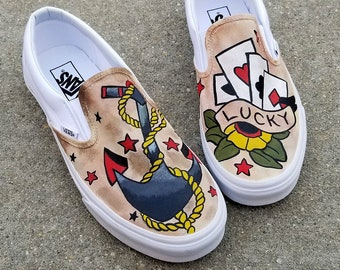 475dc1aac1419f Custom Classic Tattoo Vans Shoes Hand Painted