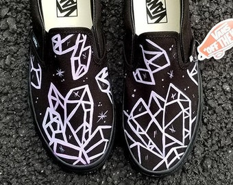 dbdd50fc068d83 Custom Crystal Vans Shoes Hand Painted