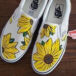 Custom Sunflower Vans Slip On Shoes