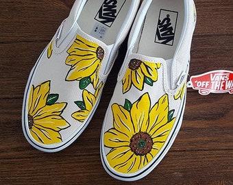 ec6025929e44b0 Custom Sunflower Vans Shoes Personalized Hand Painted