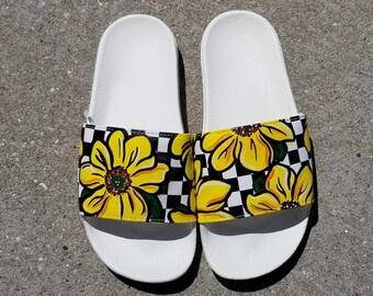 38971f89302c8 Custom Sunflower Vans Slides Sandals