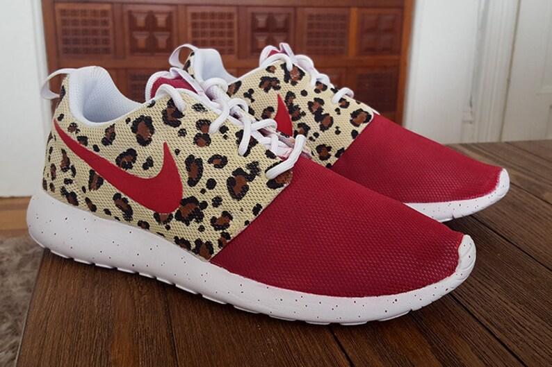 8a4f90303472b Custom Raspberry Cheetah Nike Roshe Shoes