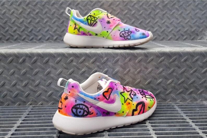 22def34773d9c Custom Neon Fever Trip Nike Roshe Run Nike Roshe Hand