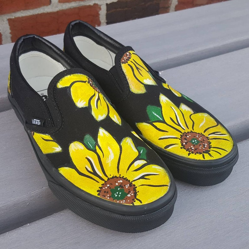 b98a2dad989765 Custom Sunflower Vans Shoes Hand Painted