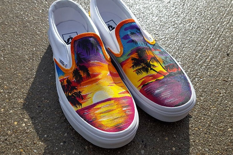 3653c07980 Custom Tropical Sunset Vans Shoes