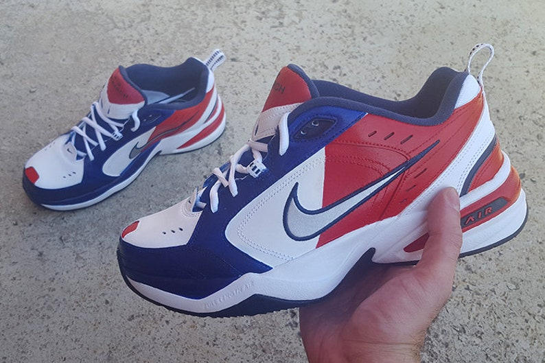 4faa0c050 Custom Nike Air Monarch Shoes Red White   Blue 4th of July