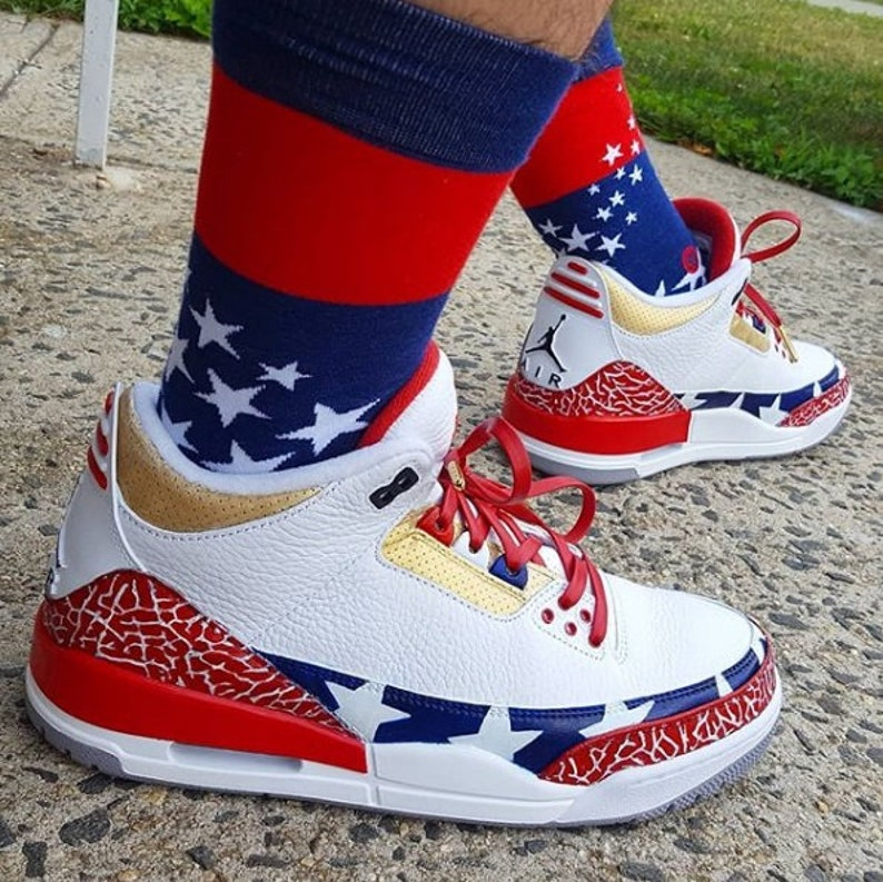 f57dc99f154 Custom Old Glory Air Jordan 3