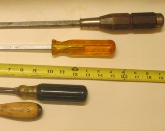 "Screwdrivers  HEAVY DUTY  / Proto, 19  "" / Vaco 15 "" / Irwin   9 "" / 4 Vintage Tools/ Craft Supplies/ Home Improvement/Hobby / Gift  for Dad"