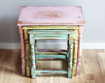 Shabby Chic Nesting Tables   Set Of 3 Coffee Tables   Night Stands   Pastel  End Tables   French Cottage Home Decor   Furniture   Mint Blush