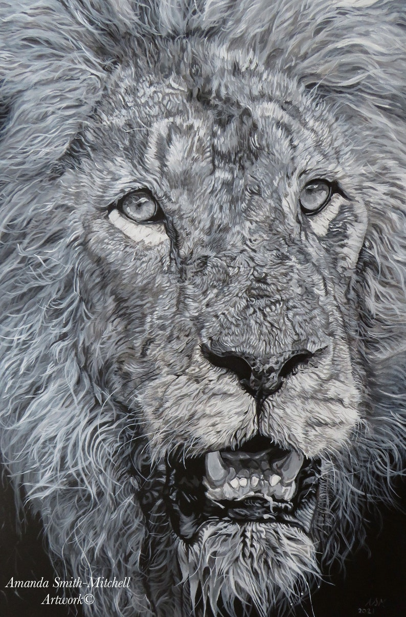 Warrior an original acrylic painting of the majestic lion image 0
