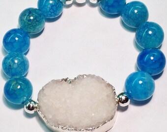 Druzy, Agate, Bracelet, Silver Druzy Bracelet, Aqua Fire Crab Agate beads, Silver Edge Druzy, White Crystal Drusy Bracelet, Blue Agate