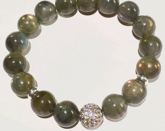 Labradorite Bracelet, Gemstone Bracelet, Boho Chic Bracelet, Gemstone Bracelet, Birthstone Bracelet, Beaded Bracelet, Mens Women Bracelet