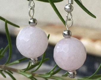 Rose Quartz Drop Earrings, Pink Quartz Dangle, Pink Rose Quartz, Quartz Earrings, silver quartz earrings, Pink stone earrings, Pink Earrings