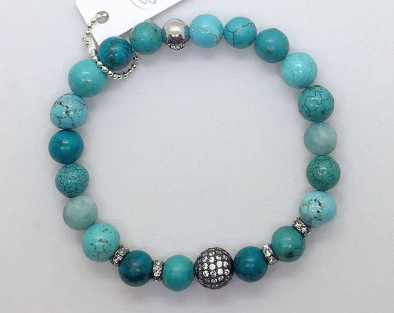 Turquoise Beads Stretch Bracelet, Swarovski Pave CZ Beads, Valentines Day Gift Gunmetal Micro Pave Healing Jewelry Layering Boho Green Blue
