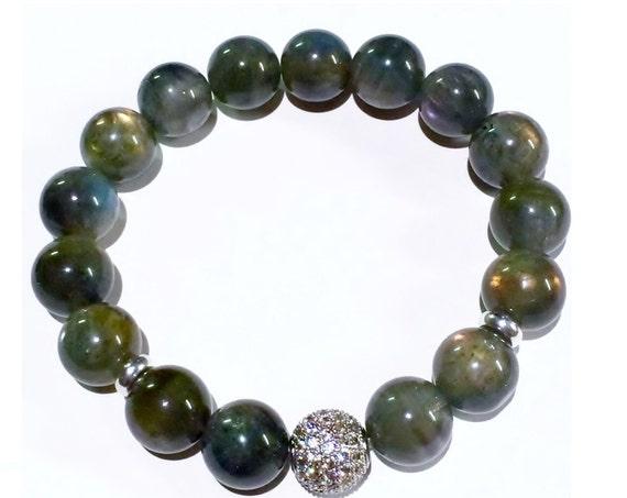 Labradorite Bracelet, Silver MicroPave', Gemstone Bracelets, Iridescent Jewelry, Pave, Gray Bracelet, Energy Jewelry, Healing Jewelry, Gift
