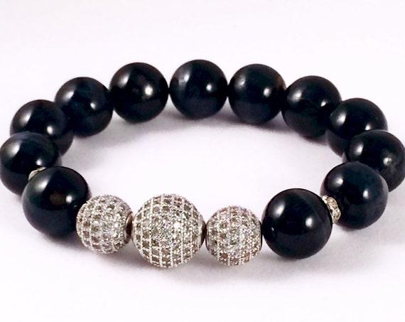 Tiger Eye Bracelet, Silver Pave, Midnight Blue/Black Tiger Eye, Tiger Eye Beads, Crystal Bracelet,  Sterling Silver Micro Pave Jewelry