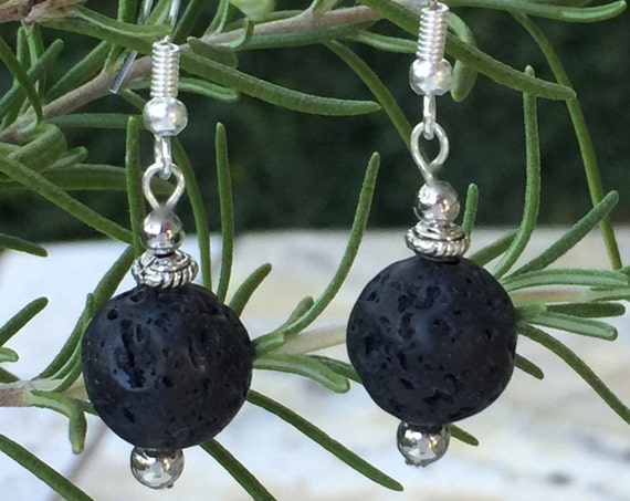 Black Lava Rock Dangle Earrings, Lava Rock Beads, Black Dangle, Lava Stone Jewelry, Silver Lava Rock Earrings, Black Earrings, Lava Stone