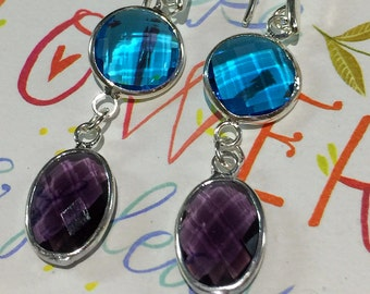 Crystal Dangle Earrings, Blue and Purple Crystal Drop Earrings, Silver Bezel Earrings, Silver Dangle Earrings, Crystal Earrings