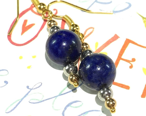 Little Gold Drop Earrings, Gold Earrings, Faux Druzy Earrings, Druzy Earrings, Boho Jewelry, Gold Earrings, Lapis, Lapis Lazuli Gemstone