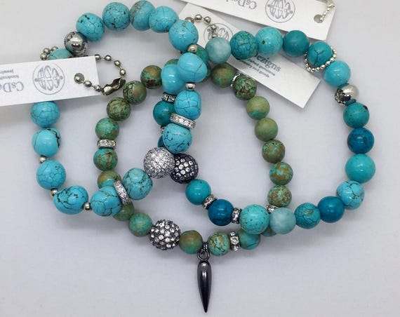 Turquoise Beads Stretch Bracelet, Swarovski Pave CZ crystals, Spike Charm, Valentines Day Gift Gunmetal Pave Healing Jewelry Layering Boho