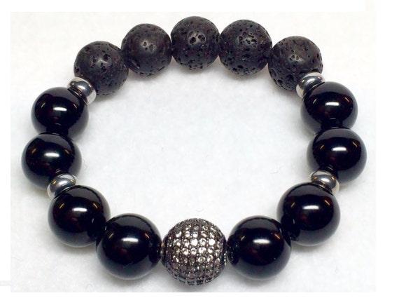 Black Onyx, Lava Rock Bracelet, Rhodium, Pave' Zircon, Bracelet, Vintage Bead, Onyx Jewelry, Black Beads Bracelet, Pave Bracelet, Silver