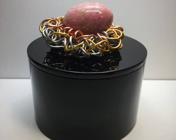 Black Lacquer Box Wire Bird Nest Rhodochrosite Pink Gemstone Egg, Keepsake Box, Gold, Silver, Copper,Gemstone Box,Wire Sculpture,Jewelry box