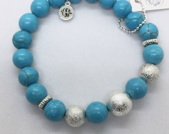 Turquoise Howlite and Silver Stardust Beads Stretch Bracelet, Valentines Day Gift Friendship Stone Turquoise Boho Yoga healing jewelry