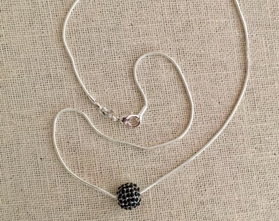 Minimalist Silver plated Jet Black Pave Ball Necklace, Jet Pave Jewelry, Black Pave, Silver plated Snake Chain, Men's or Women's jewelry