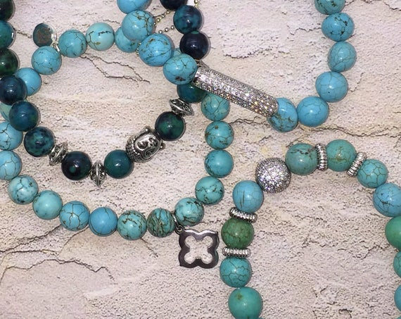 Turquoise Beads Stretch Bracelet with Pave CZ Bead, Valentines Day Gift Silver Micro Pave Healing Jewelry Layering Sets Yoga Boho Green Blue