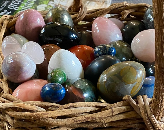 Natural hand carved Gemstone Eggs- Crystals variety and sizes for sale. Healing Home decor. Collectible Yoni eggs.