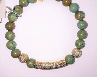 Turquoise Beads with Gold Pave CZ Tube Bead Bracelet, Valentines Day Gift, Green Boho Stretch Layering Healing Jewelry Yoga Beach Friendship