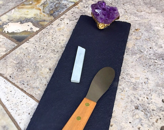 Slate & Gemstone Serving Tray / Board for Cheese, Tapas Plate, Small Bites Appetizer Display, Amethyst Tableware Gift with Accessories