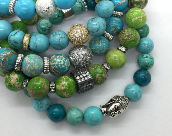 Turquoise Beads Stretch Buddha Head Bracelet, Valentines Day Gift, Friendship Gemstone, Boho Healing Silver Buddha jewelry beach yoga office