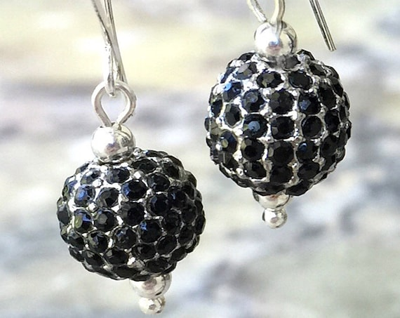 Black Pave Crystal Earrings, Black Dangle Earring,  Boho, Pave Drop Earrings, Pave Dangle Earrings, Silver Ear Wires, Filigree Earrings