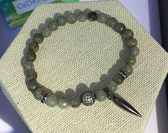 Labradorite Bracelet, Micro Pave, Boho Bracelet, Horn Charm, Gunmetal Bracelet, Gemstone Bracelet, Healing Bracelet, Mens Women Bracelet